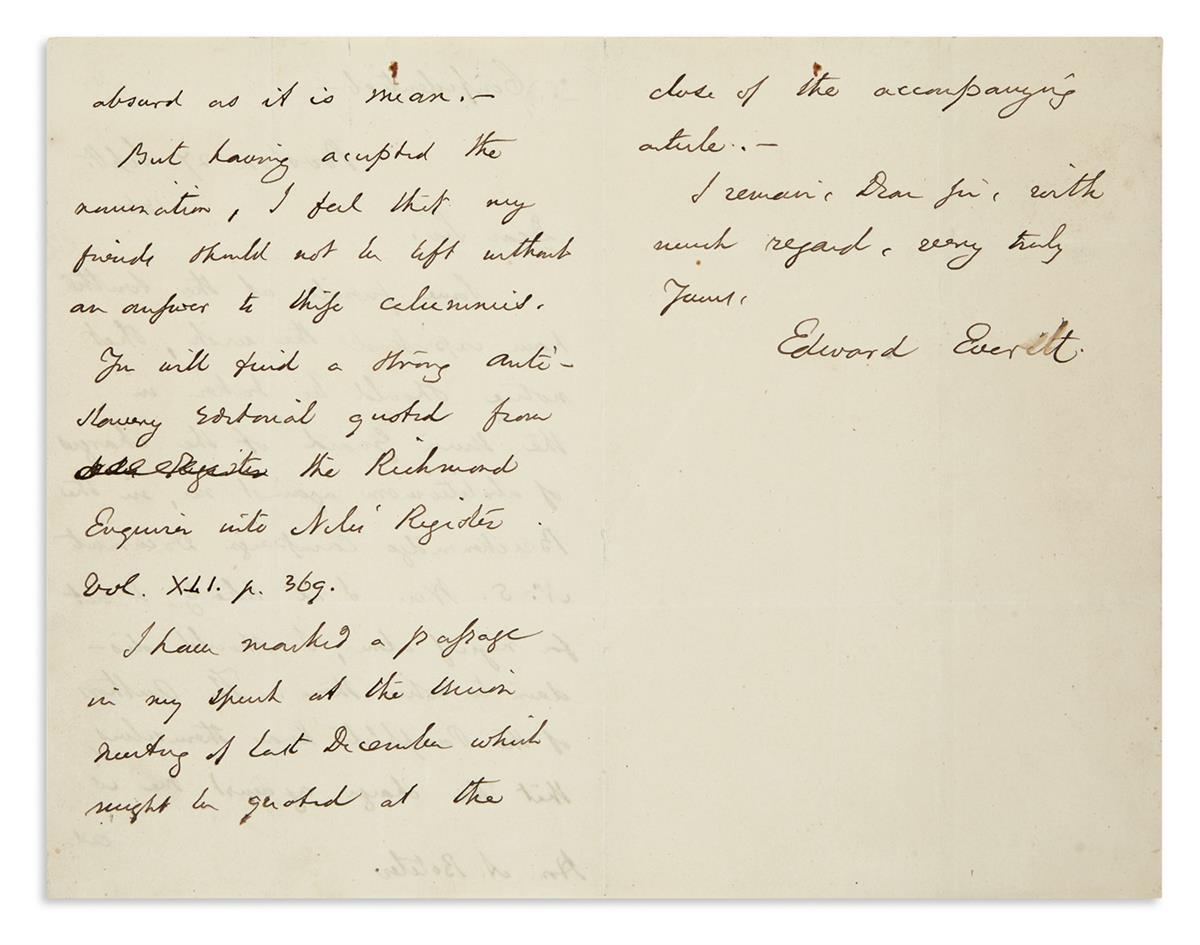 EVERETT-EDWARD-Autograph-Letter-Signed-to-Alexander-Boteler