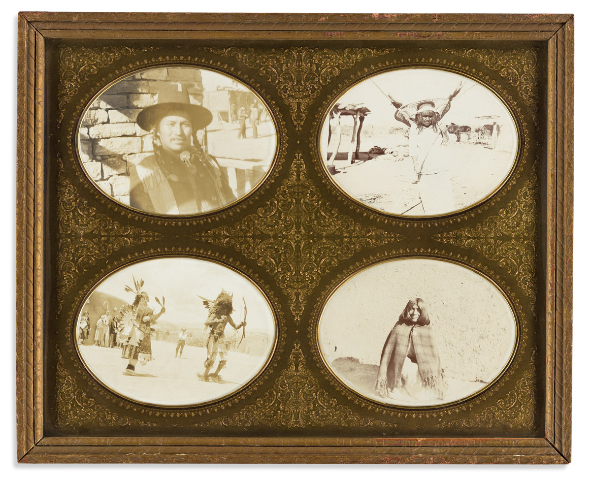 (AMERICAN INDIANS--PHOTOGRAPHS.) Harold Kellogg. Buffalo dancers and others at San Ildefonso Pueblo in New Mexico.