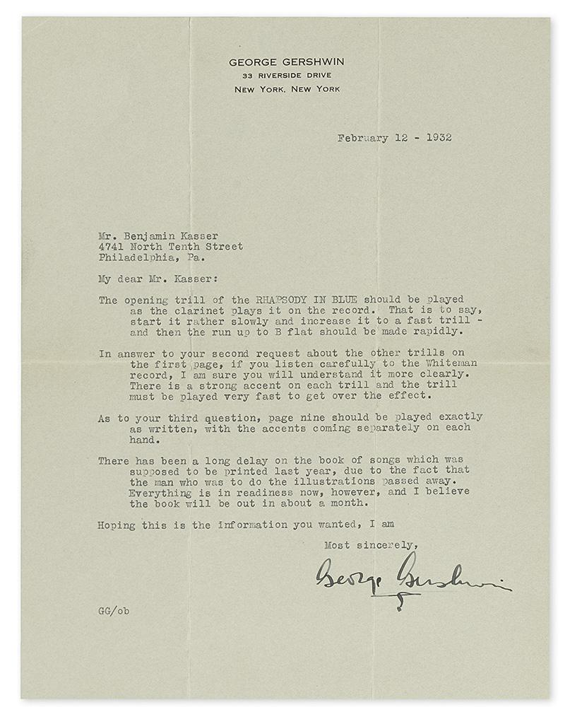 GERSHWIN, GEORGE. Typed Letter Signed, to Benjamin Kasser,