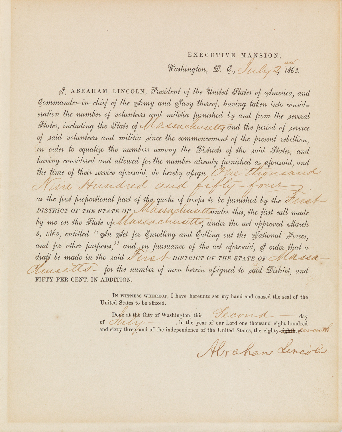 (CIVIL-WAR)-LINCOLN-ABRAHAM-Partly-printed-Document-Signed-a