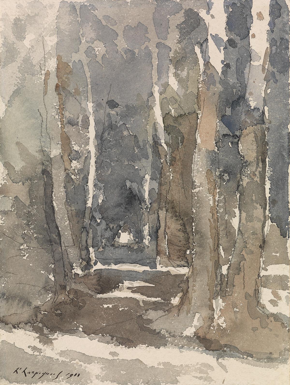 HENRI-JOSEPH-HARPIGNIES-(Valenciennes-1819-1916-Saint-Privé)-A-Wooden-Landscape-with-a-Path