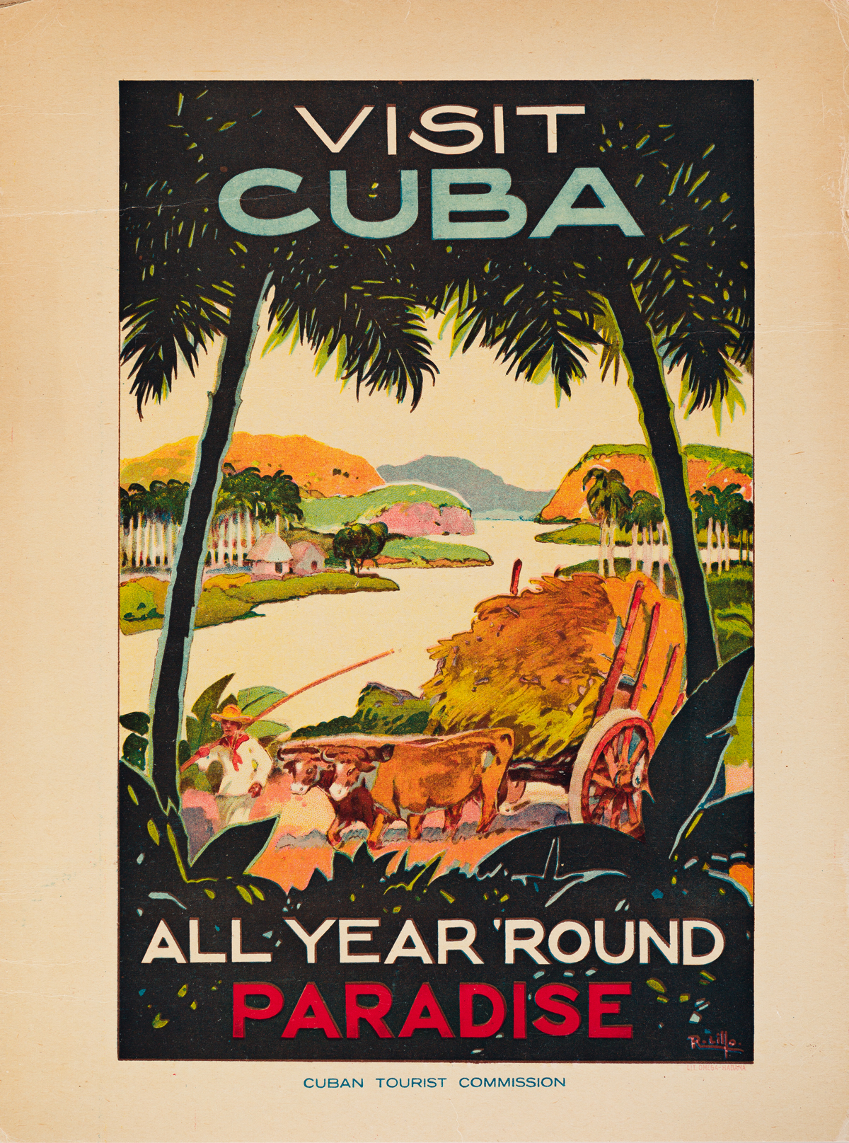 R. Lillo (Dates Unknown).  VISIT CUBA / ALL YEAR ROUND PARADISE. Small format poster. Circa 1938.
