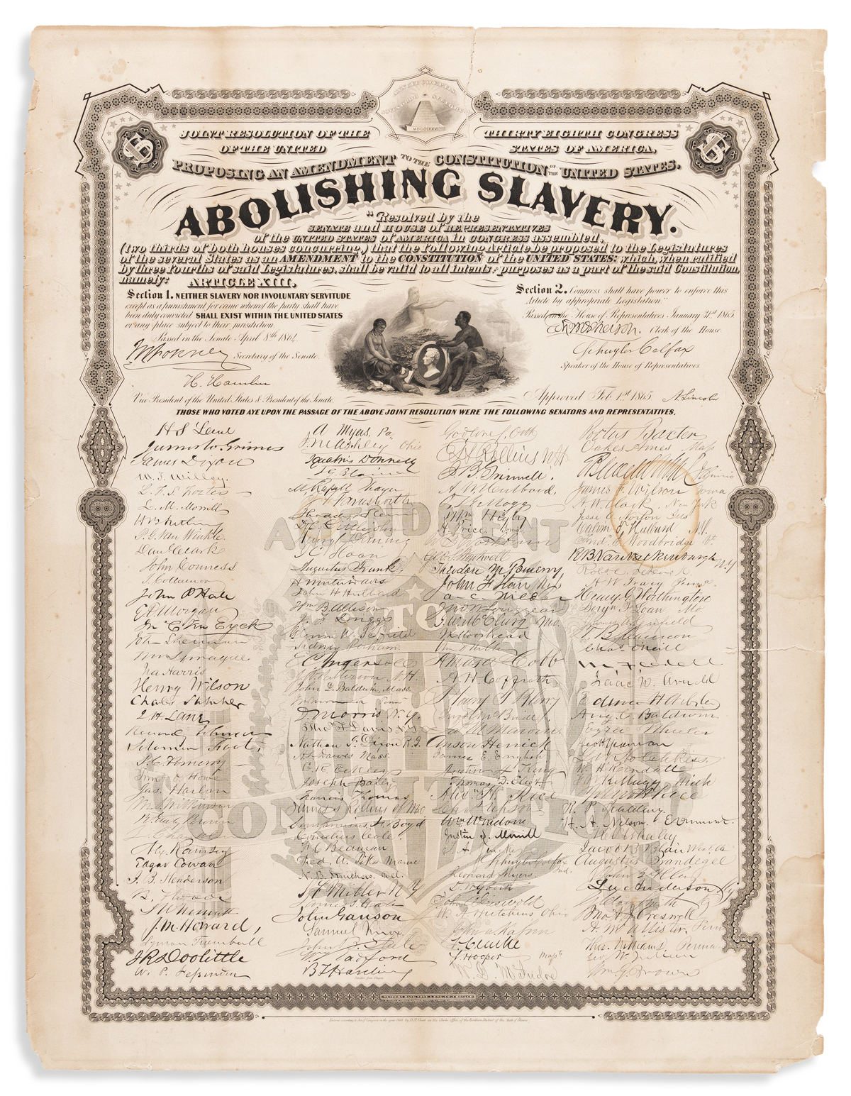 (SLAVERY AND ABOLITION.) Joint Resolution . . . Proposing an Amendment to the Constitution . . . Abolishing Slavery.