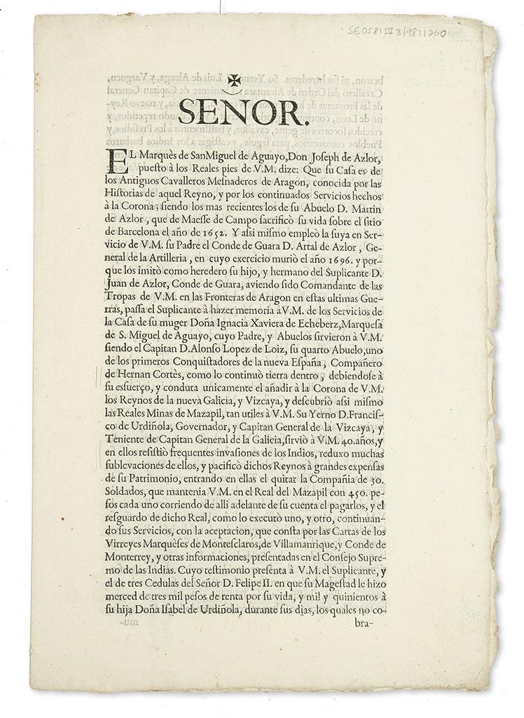 (TEXAS.) Azlor, José de, Marqués de San Miguel de Aguayo. A petition to the king, recounting his gift of 200 cattle to Texas in 1717.