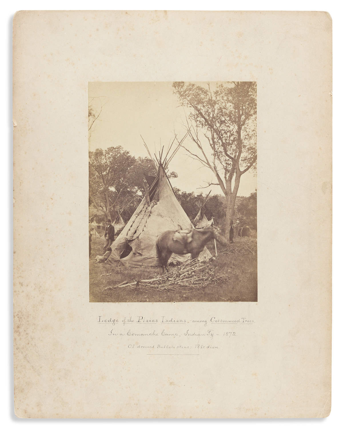 (AMERICAN INDIANS--PHOTOGRAPHS.) William Soule. Lodge of the Plains Indians among the Cottonwood Trees in a Comanche Camp . . .