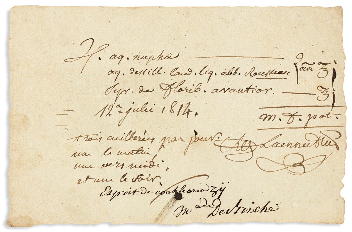 (MEDICINE.) LAENNEC, RENÉ THÉOPHILE. Autograph Document Signed, RTHLaennecMD, a prescription
