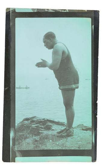 (PHOTOGRAPHY.) VAN DER ZEE, JAMES. At the Beach, [Self-portrait], June, 1949.