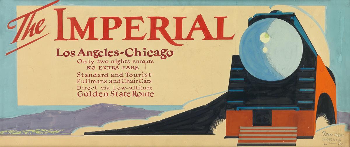 SAM HYDE HARRIS (1889-1977). THE IMPERIAL / LOS ANGELES - CHICAGO. Gouache maquette. Circa 1939. 39x16 inches, 100x42 cm.