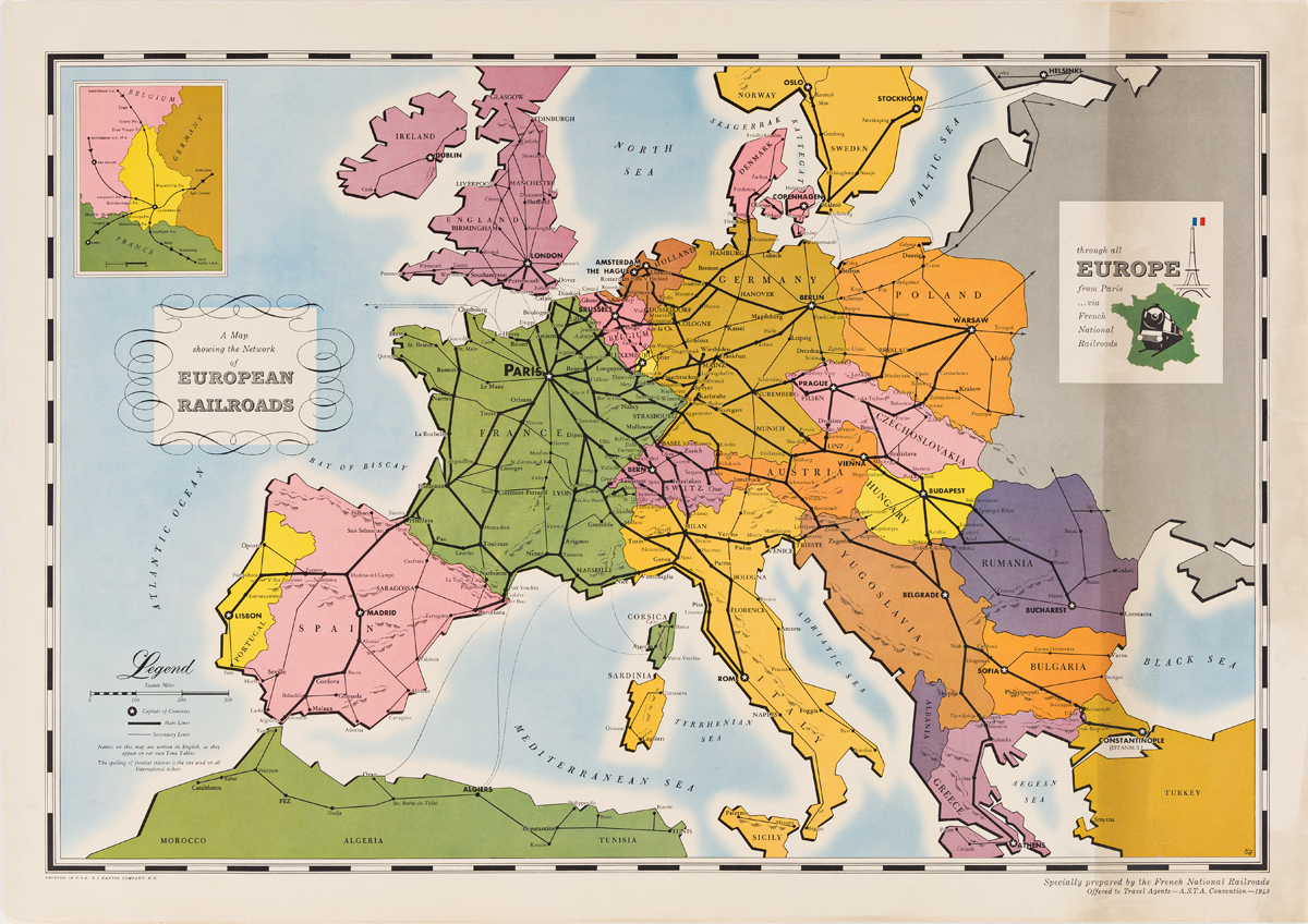 Initials Unknown.  A MAP SHOWING THE NETWORK OF EUROPEAN RAILROADS. 1949.