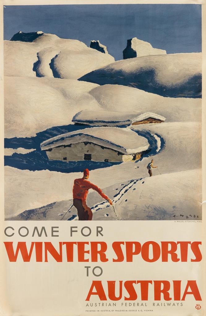 ALFONS WALDE (1891-1958). COME FOR WINTER SPORTS TO AUSTRIA. Circa 1935. 37x24 inches, 95x62 cm.