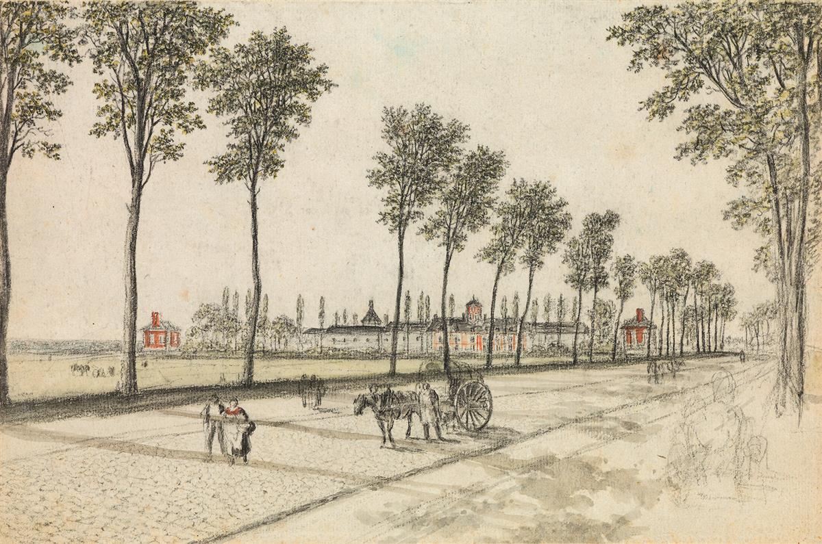GEORGES-MICHEL-(Paris-1763-1843-Paris)-View-of-a-Factory-and-a-Tree-Lined-Road-near-Paris
