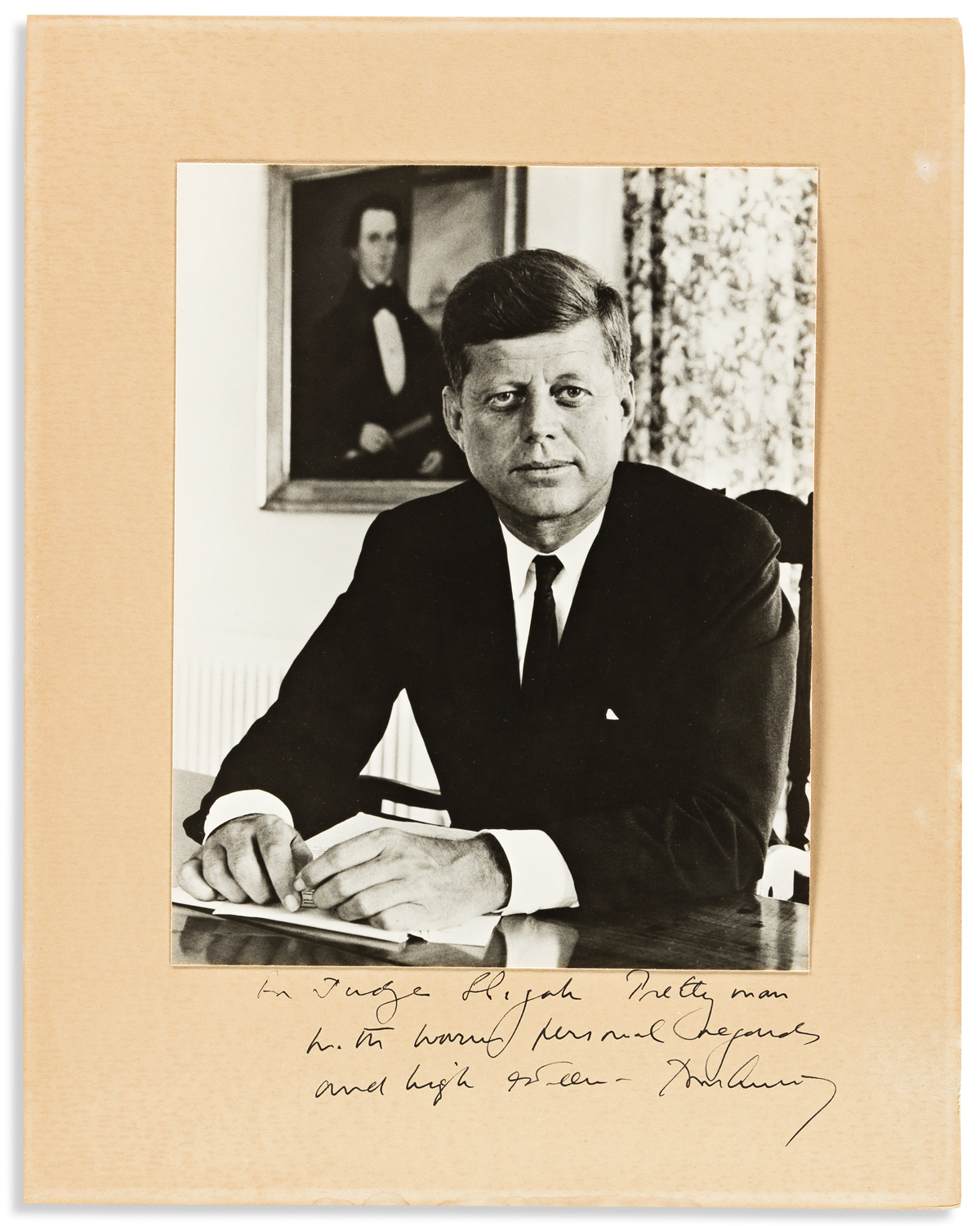 KENNEDY, JOHN F. Photograph Signed and Inscribed: For Judge Elijah Prettyman / with warm personal regards / and high esteem John Kenne