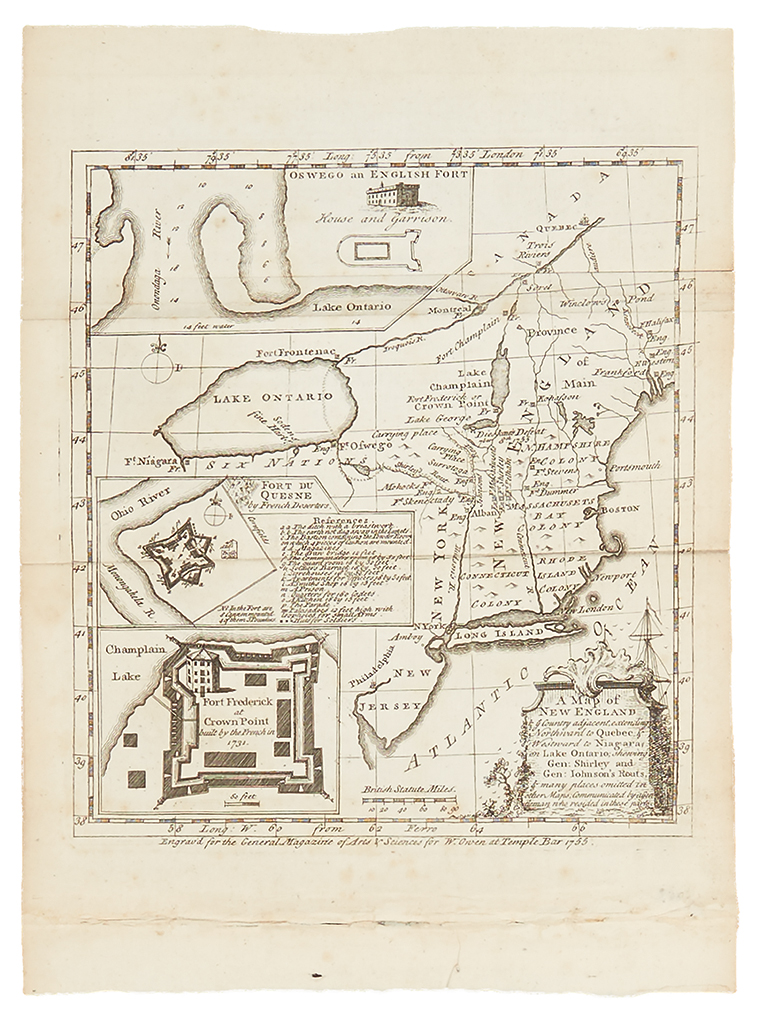 (FRENCH AND INDIAN WAR.) Owen, W. Map of New England & ye Country Adjacent,