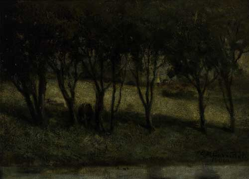 EDWARD-M-BANNISTER-(1828---1901)-Untitled-(Cows-in-Pasture-N