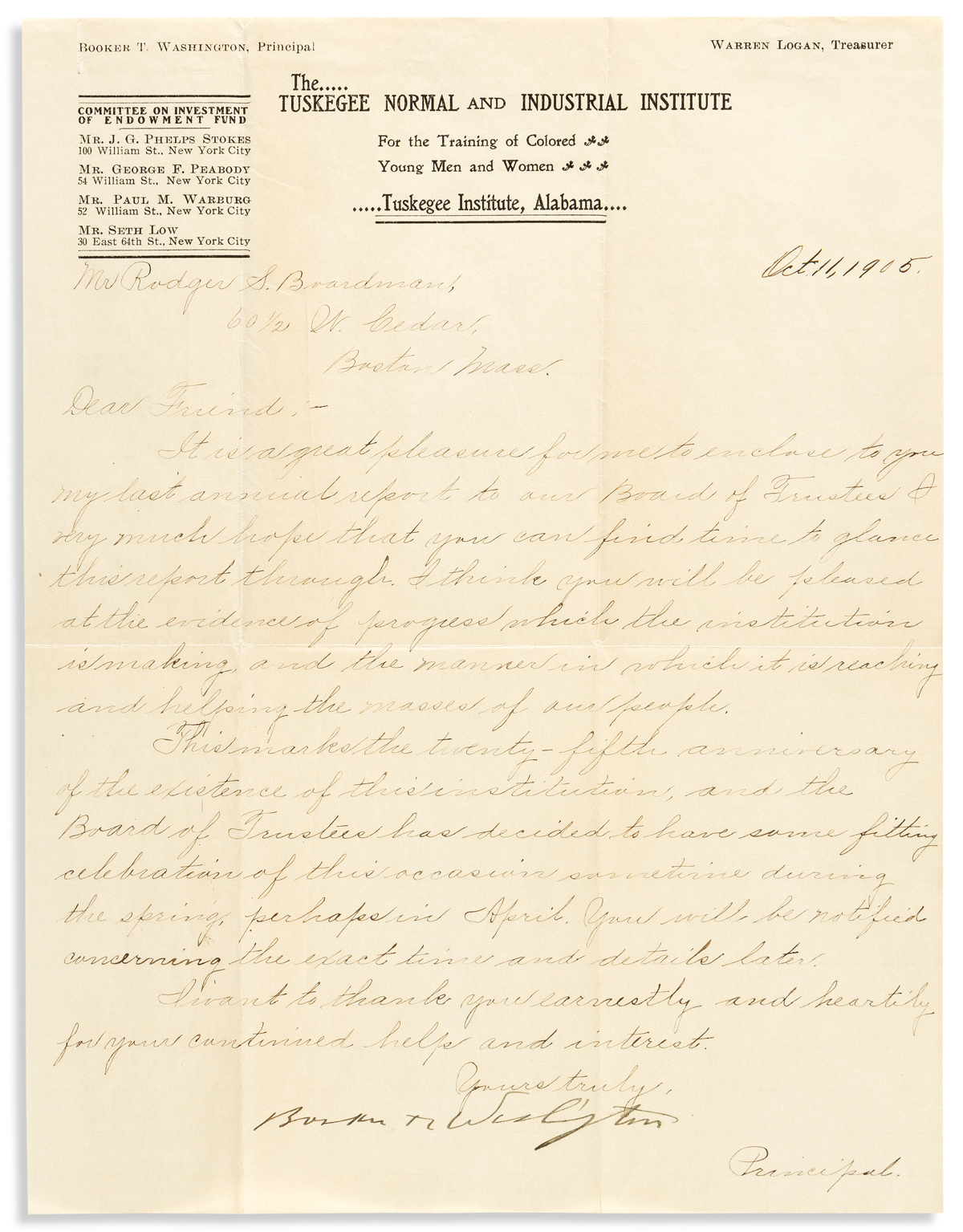 WASHINGTON, BOOKER T. Letter Signed, to Rodger S. Boardman,