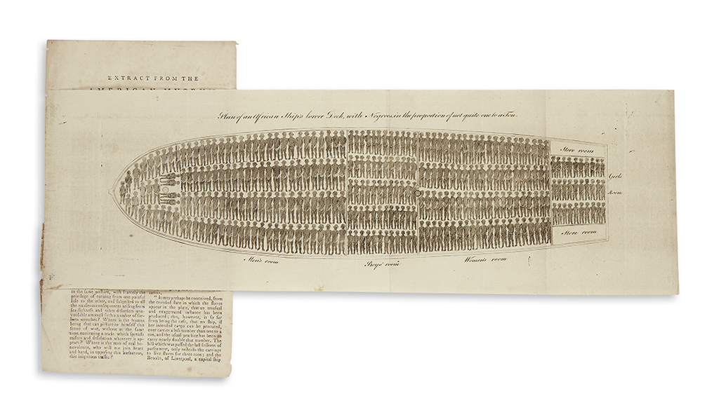 (SLAVERY AND ABOLITION.) Plan of an African Ships Lower Deck, with Negroes, in the Proportion of Not Quite One to a Ton.