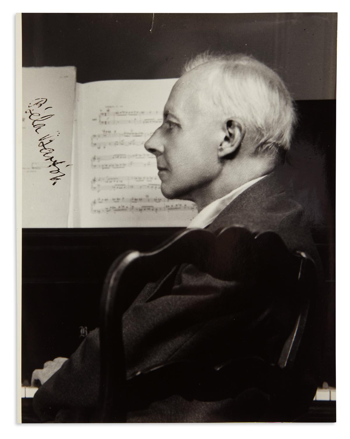 BARTÓK, BÉLA. Photograph Signed, half-length portrait by Ernest Nash