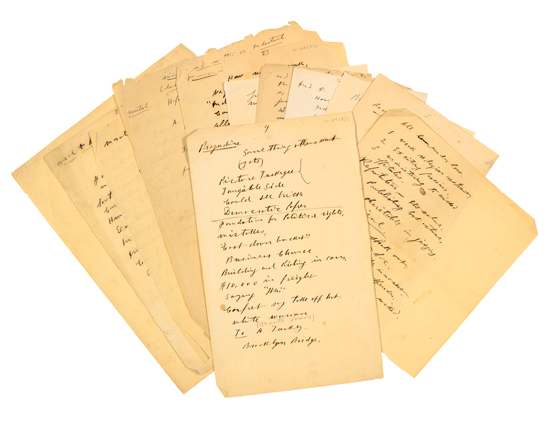 WASHINGTON, BOOKER T. Group of twelve pages of manuscript notes for speeches.