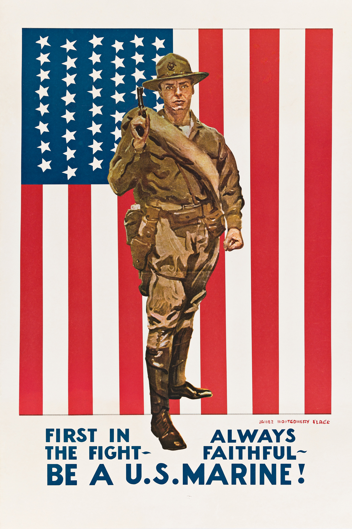 JAMES MONTGOMERY FLAGG (1870-1960).  FIRST IN THE FIGHT / BE A U.S. MARINE! Circa 1918. 34¾x23¼ inches, 88¼x59 cm.