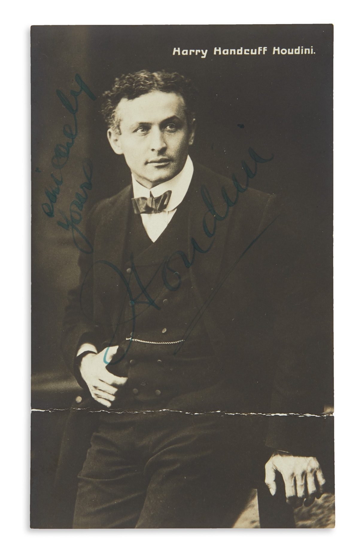 HOUDINI-HARRY-Photograph-postcard-Signed-and-Inscribed-Since