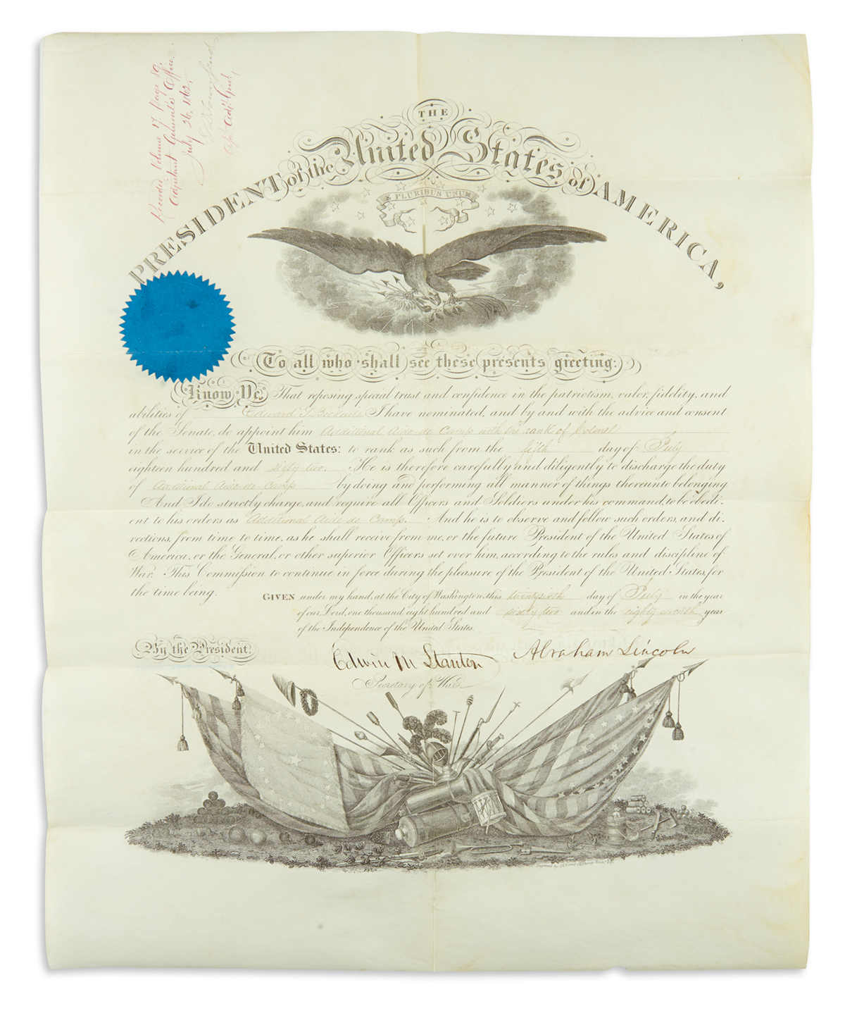 LINCOLN, ABRAHAM. Partly-printed vellum Document Signed, as President, military commission appointing Edward G. Beckwith