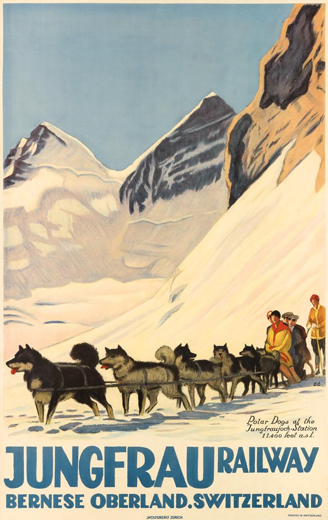 EMIL CARDINAUX (1877-1936). JUNGFRAU RAILWAY / BERNESE OBERLAND. SWITZERLAND. 1925. 40x25 inches, 102x64 cm. Wolfsberg, Zurich.