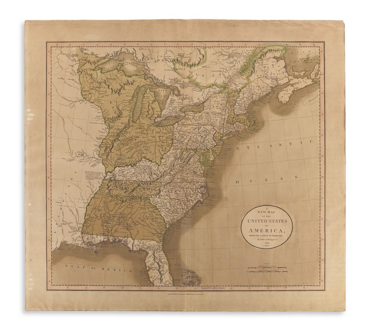 CARY, JOHN. A New Map of the United States of America, From the Latest Authorities.