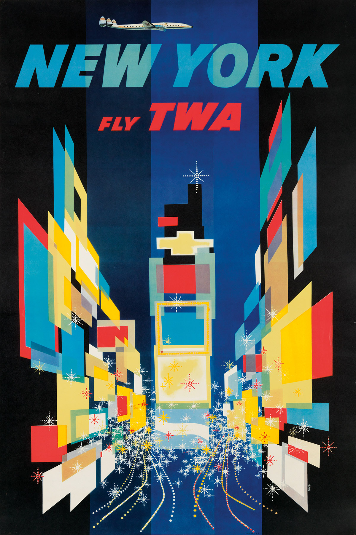 DAVID KLEIN (1918-2005). NEW YORK / FLY TWA. 1956. 40x25 inches, 101x64 cm.
