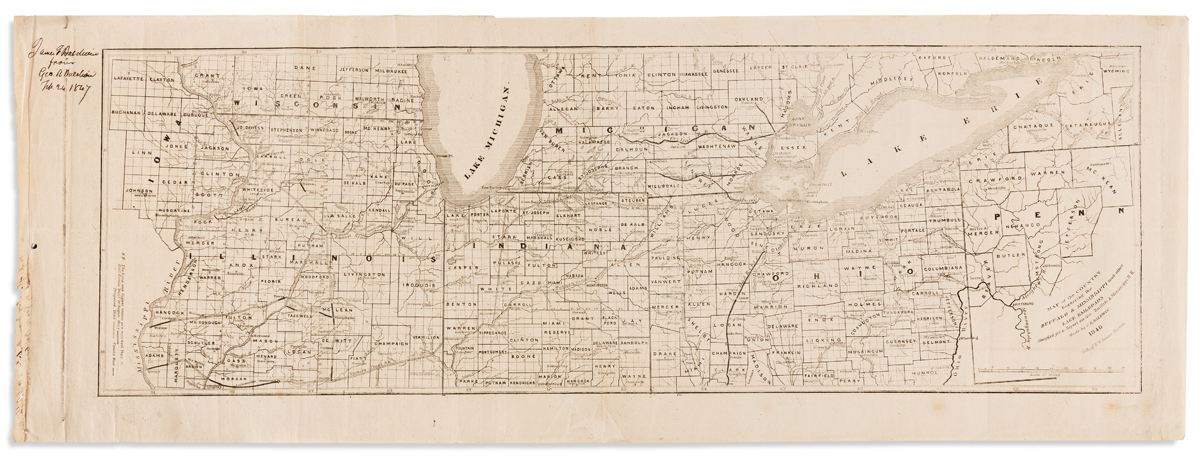 (RAILROADS -- MIDWEST.) Baldwin, George Rumford. Map of the Country Bordering the Buffalo & Mississippi and Other Lake Railroads.