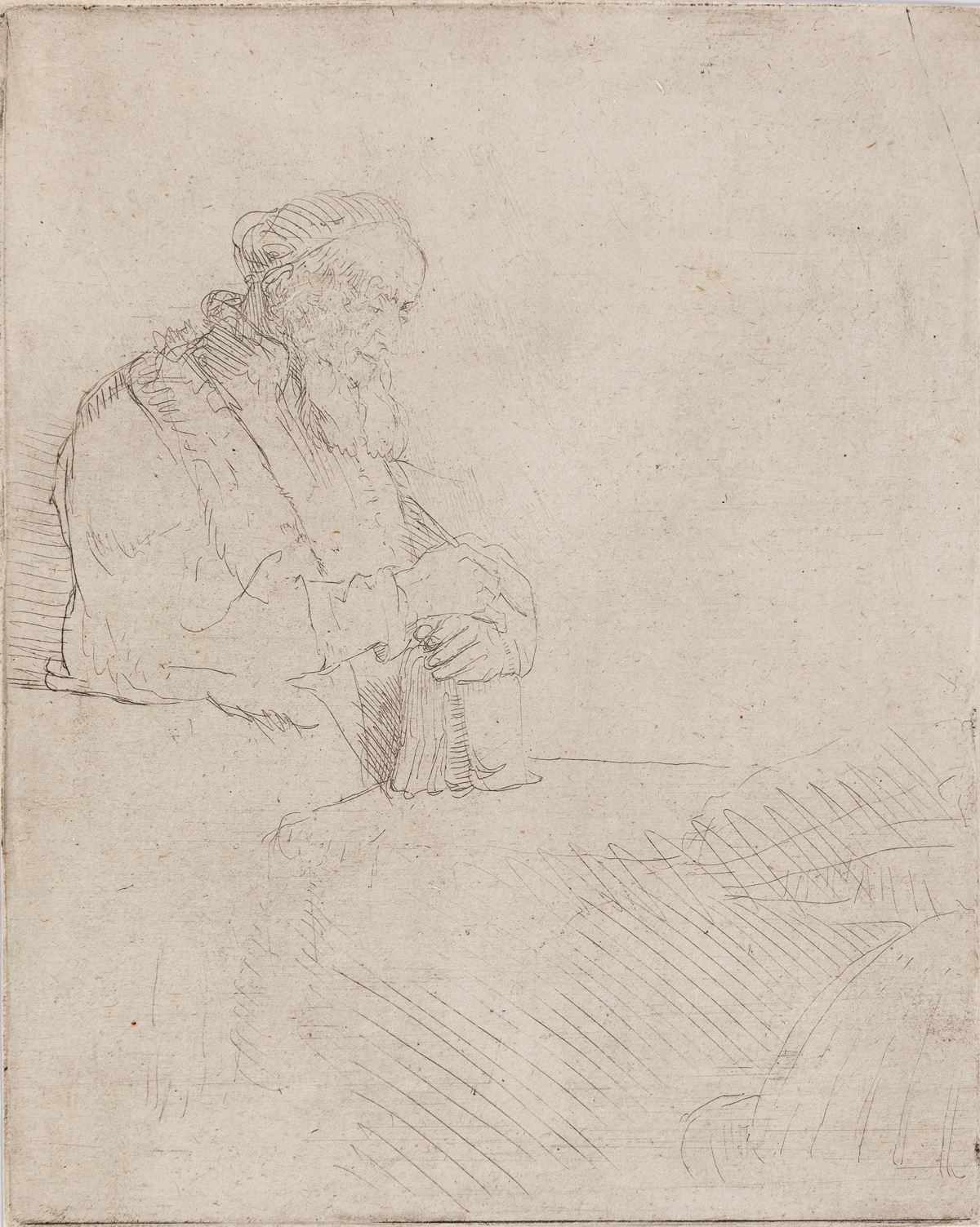 REMBRANDT VAN RIJN Old Man in Meditation, Leaning on a Book.