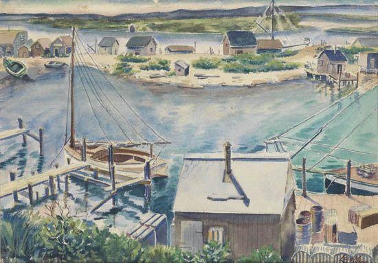 LOÏS MAILOU JONES (1905 - 1998) Menemsha by the Sea.