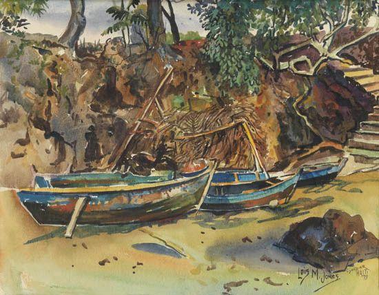 LOÏS MAILOU JONES (1905 - 1998) Barques à Cyvadier.