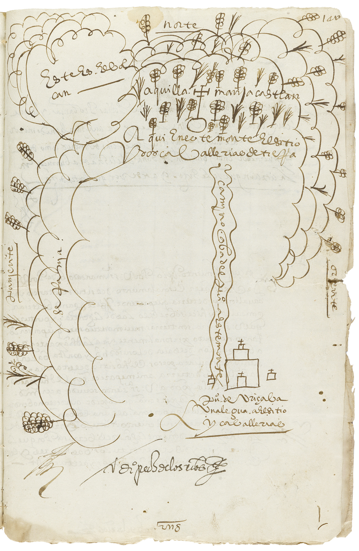 (MEXICAN MANUSCRIPTS.) Case involving land near Orizaba, featuring a map compiled with evidence from Indians.
