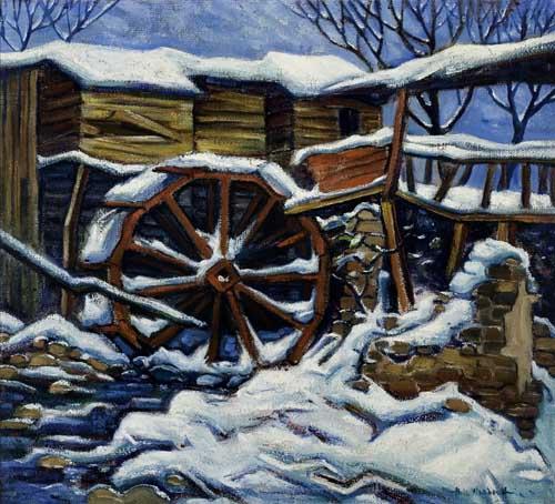 HALE-WOODRUFF-(1900---1980)-The-Old-Mill-in-Winter