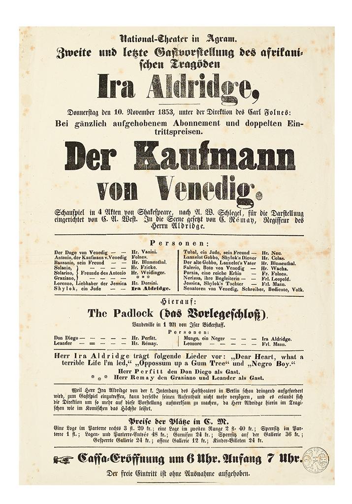 (THEATER.) Ira Aldridge! . . . Der Kaufmann von Venedig (The Merchant of Venice.)