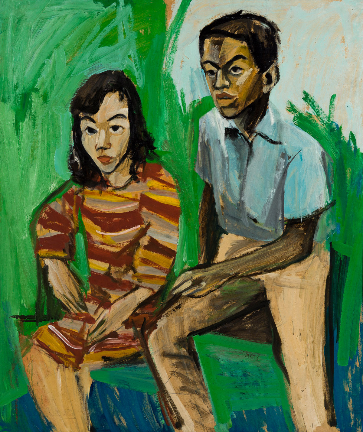 BERNARD HARMON (1935 - 1989) Untitled (Young Man and Woman in a Striped Dress).