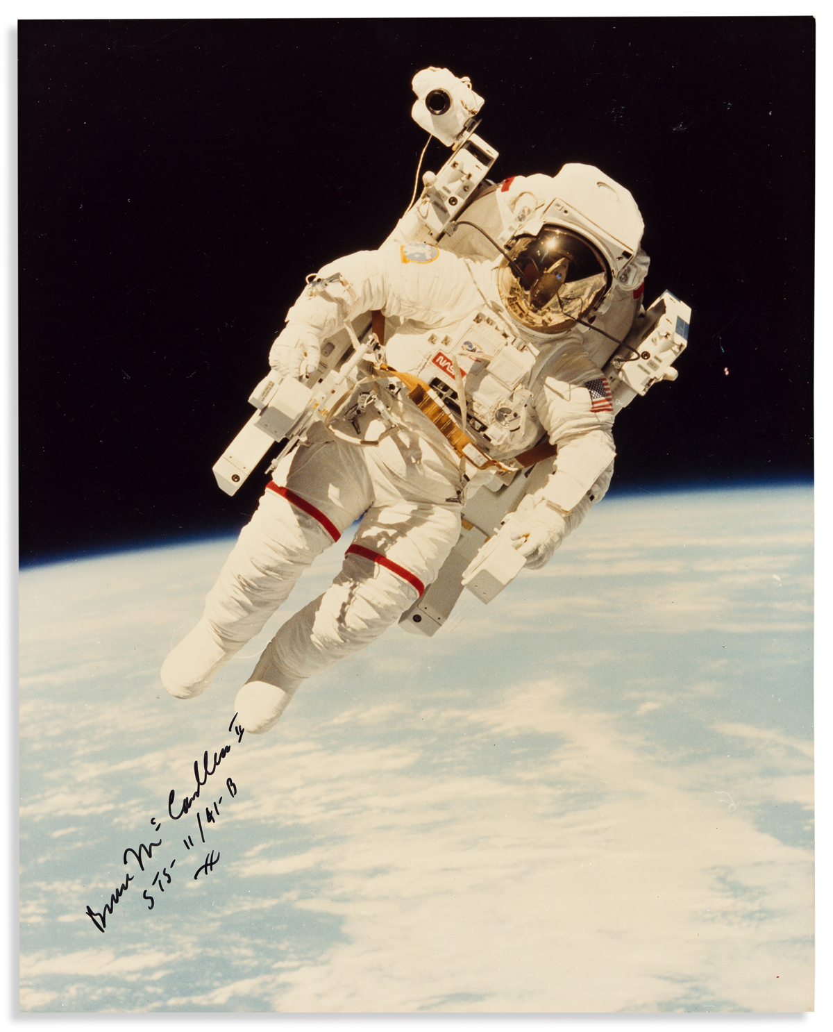 (ASTRONAUTS.) MCCANDLESS II, BRUCE. Photograph Signed with holograph mission number (STS-11 / 41-B),