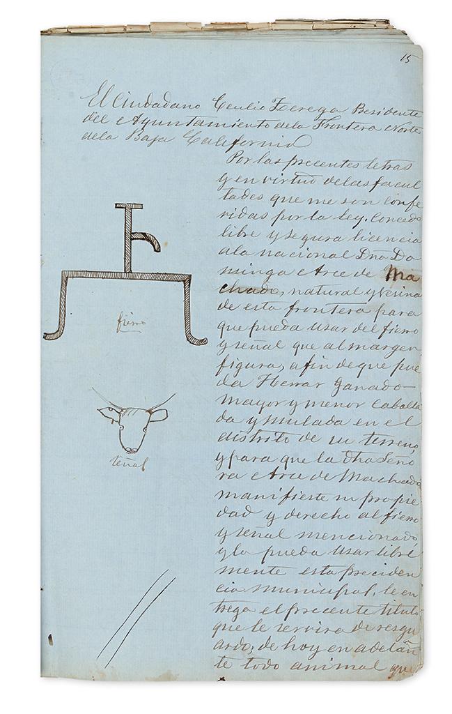 (MEXICO.) Manuscript register of cattle brands in Baja California.