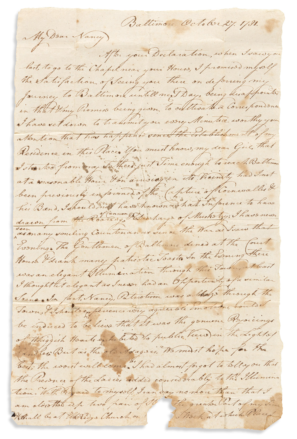 (AMERICAN REVOLUTION--1781.) H. Ridgely, Jr. Letter describing the festivities in Baltimore after the Yorktown surrender.