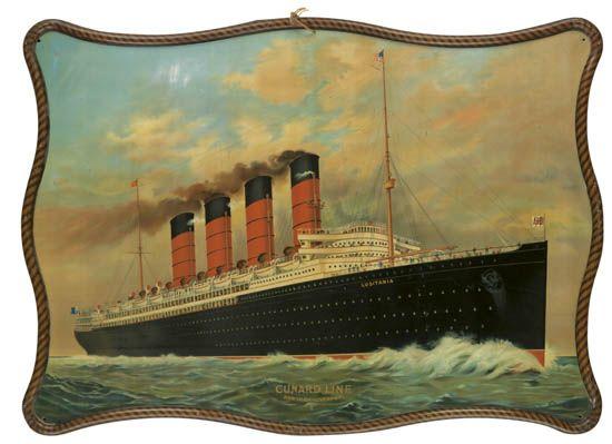 (CUNARD LINE.) Lusitania. Cunard Line. New York - Liverpool.