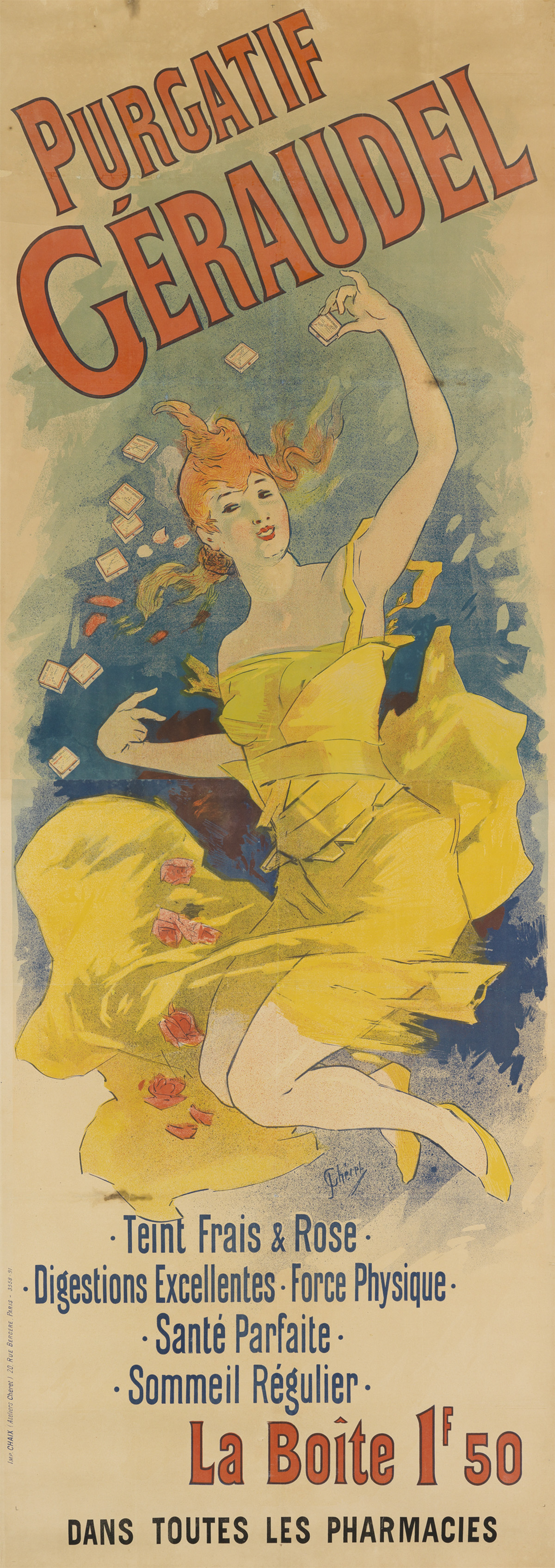 JULES CHÉRET (1836-1932). PURGATIF GÉRAUDEL. 1891. 95x35 inches, 241x89 cm. Chaix, Paris.