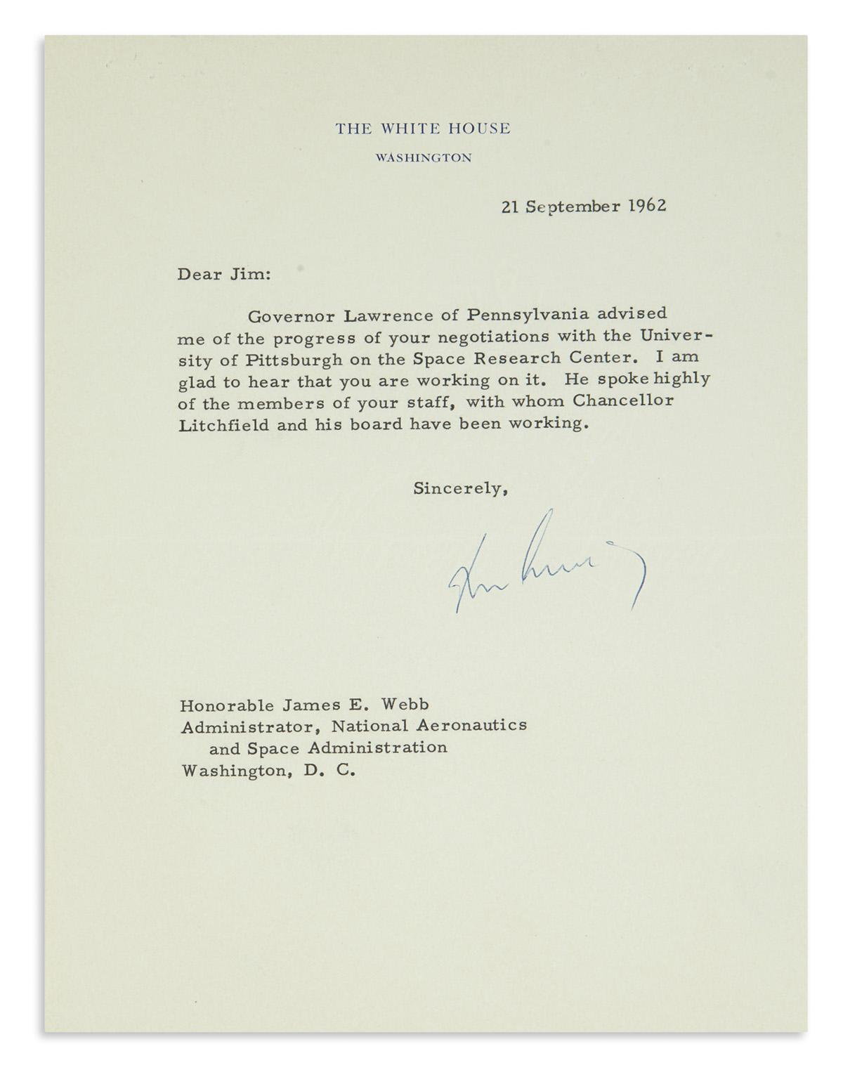 KENNEDY, JOHN F. Typed Letter Signed, John Kennedy, as President, to NASA Administrator James E. Webb,