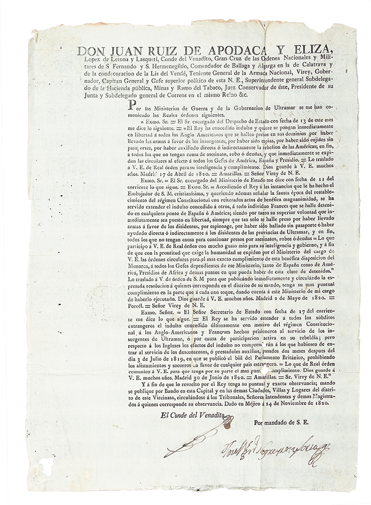 (MEXICO.) Ruiz de Apodaca, Juan. Broadside offering amnesty to American citizens who had fought for Mexican independence.