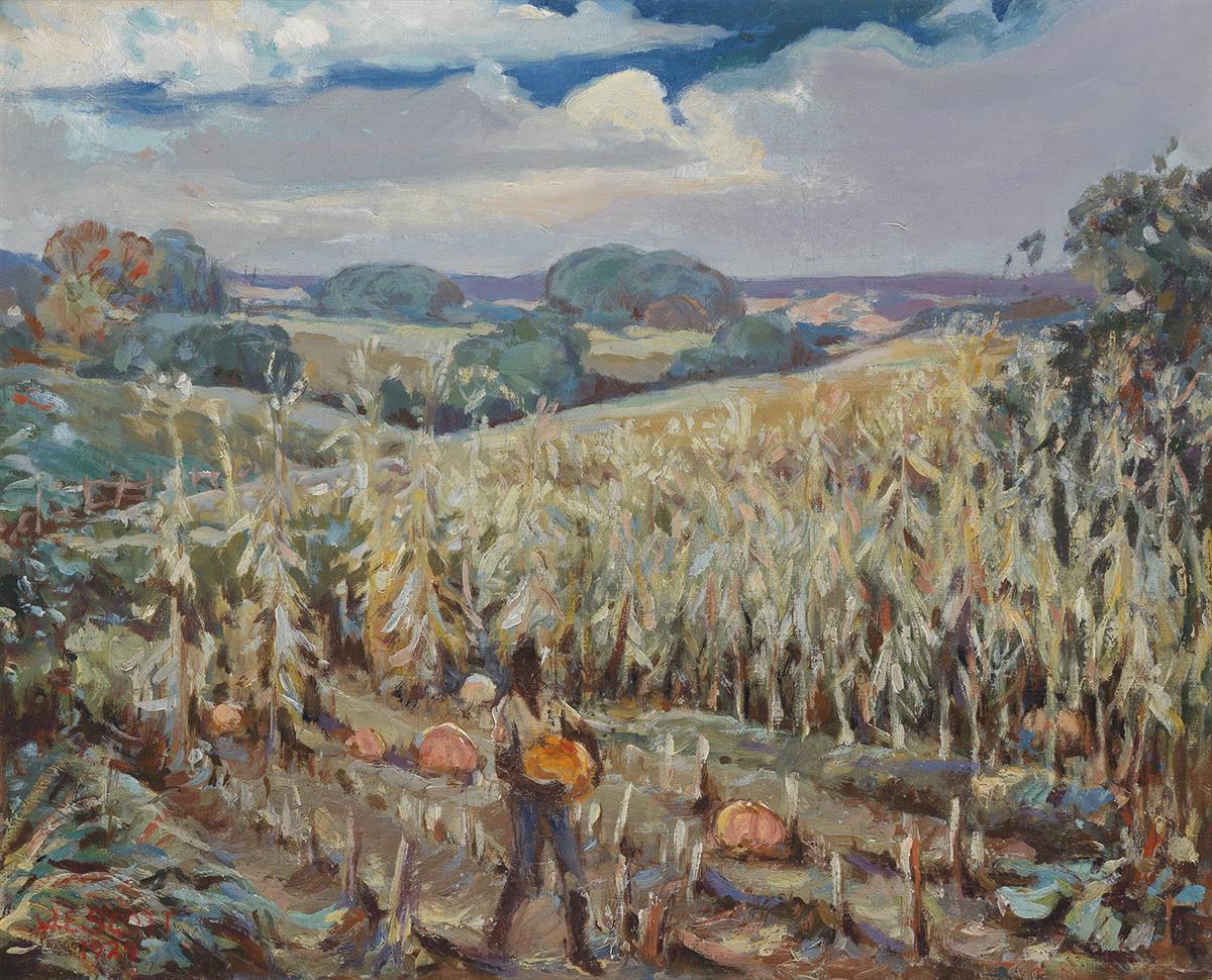 WILLIAM-EDOUARD-SCOTT-(1884---1964)-Untitled-(Boy-with-Pumpkins-in-a-Field)