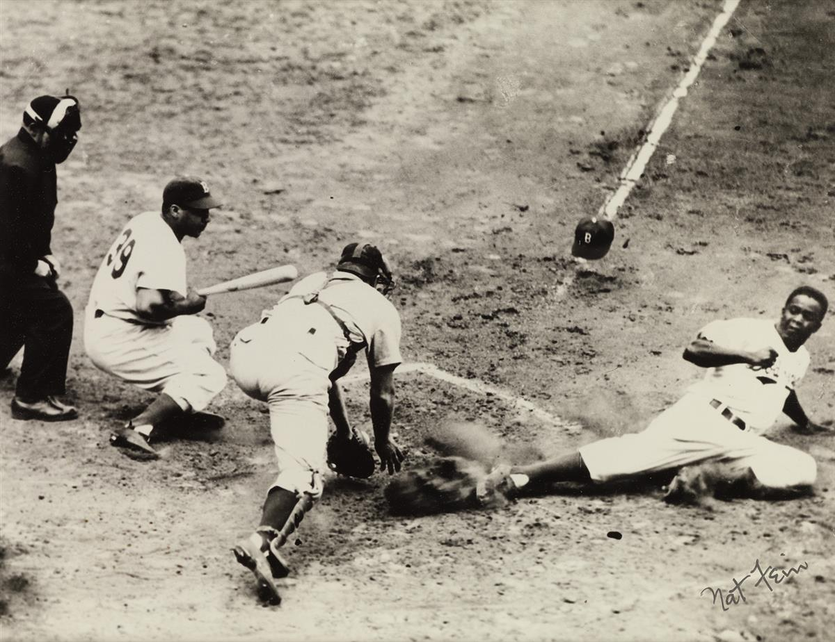 NAT FEIN (1914-2000) Jackie Robinson Steals Home (July 17, 1949).