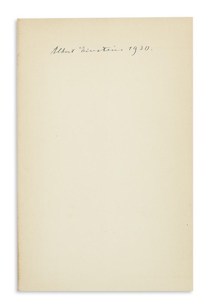 (SCIENTISTS.) EINSTEIN, ALBERT. Anton Reiser. Albert Einstein: A Biographical Portrait. Signed and dated, on the front free endpaper.