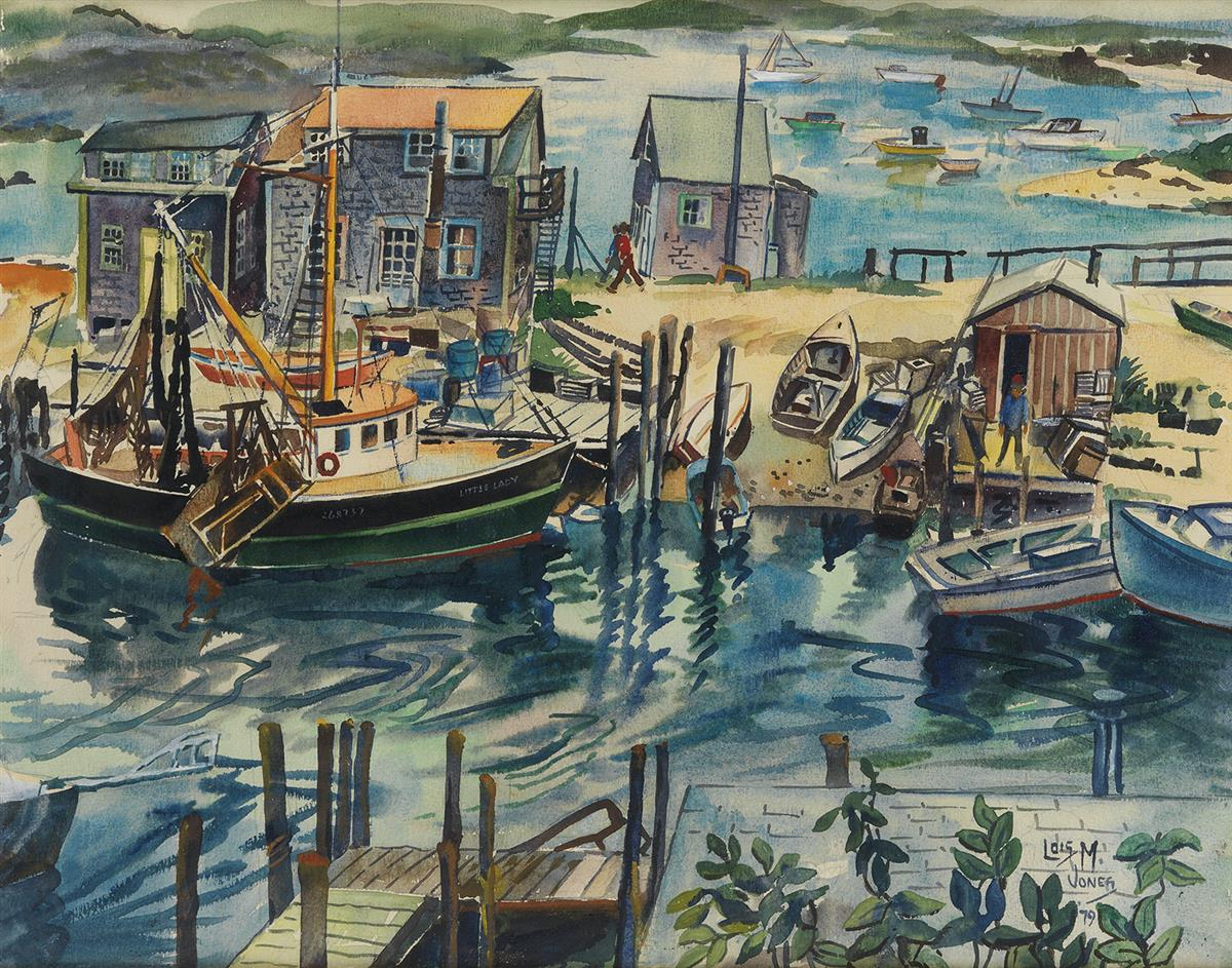 LOÏS MAILOU JONES (1905 - 1998) Boats at Menemsha.