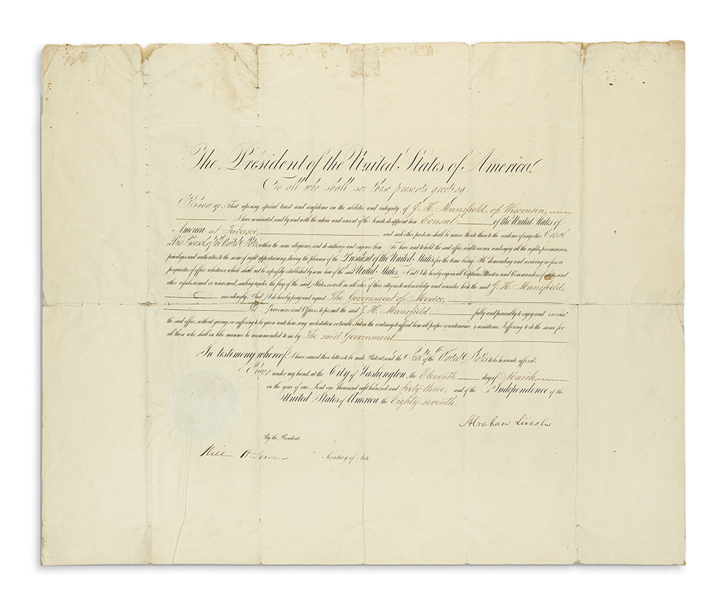 LINCOLN-ABRAHAM-Partly-printed-Document-Signed-as-President-