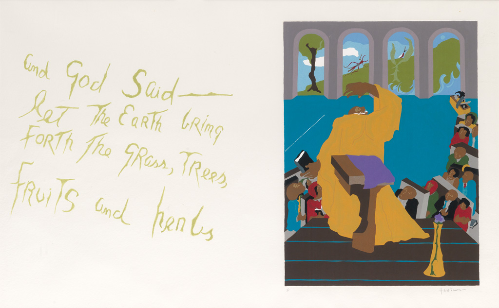 JACOB LAWRENCE (1917 - 2000) And God said - let the Earth bring forth the grass, trees, fruits and herbs.