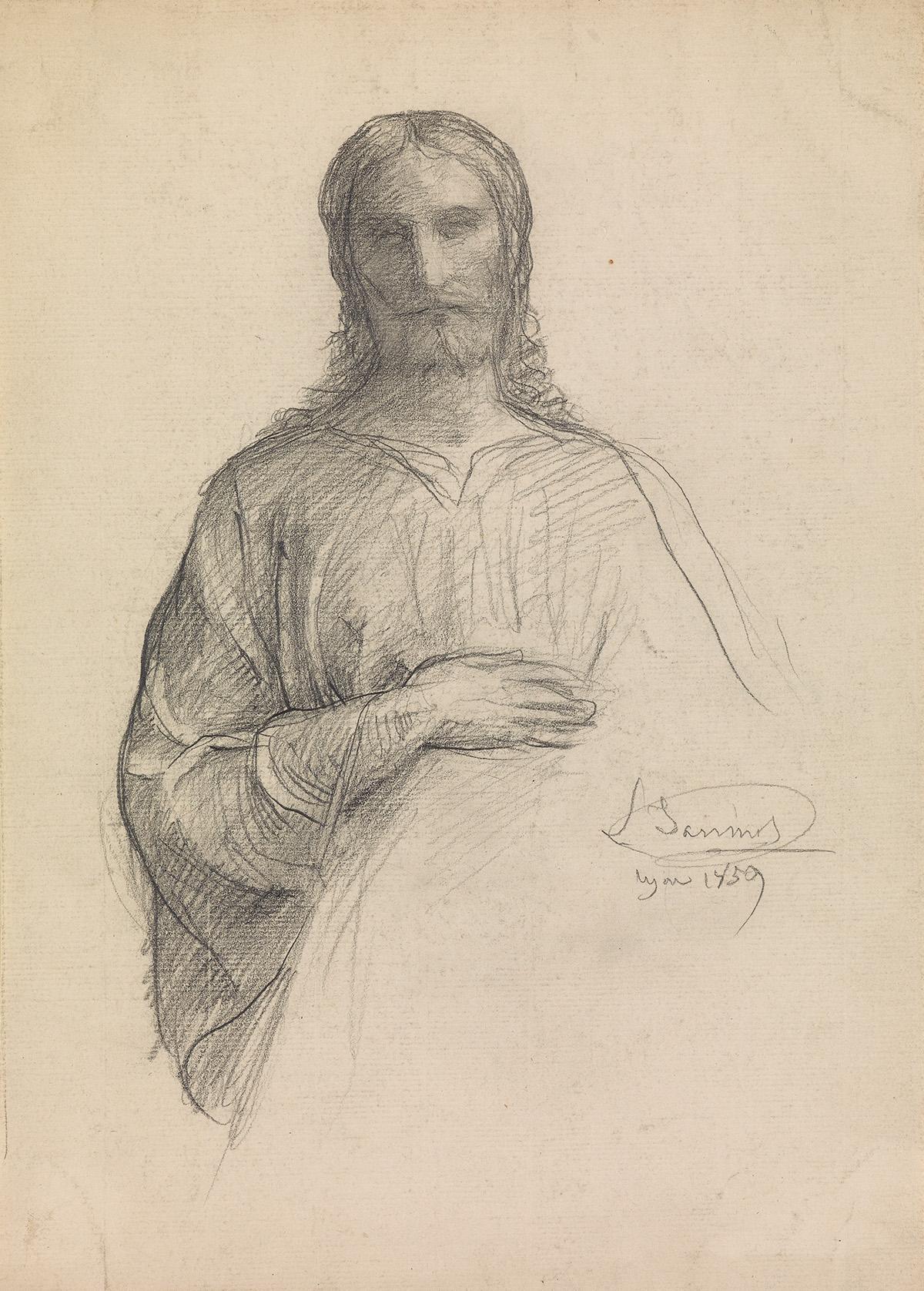 LOUIS-JANMOT-(Lyon-1814-1892-Lyon)-Christ-as-Salvator-Mundi